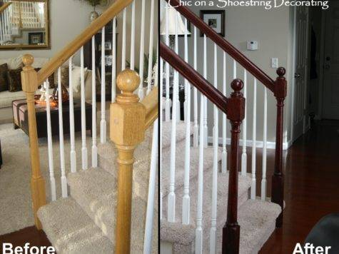 Shoestring Decorating Stain Stair Railings