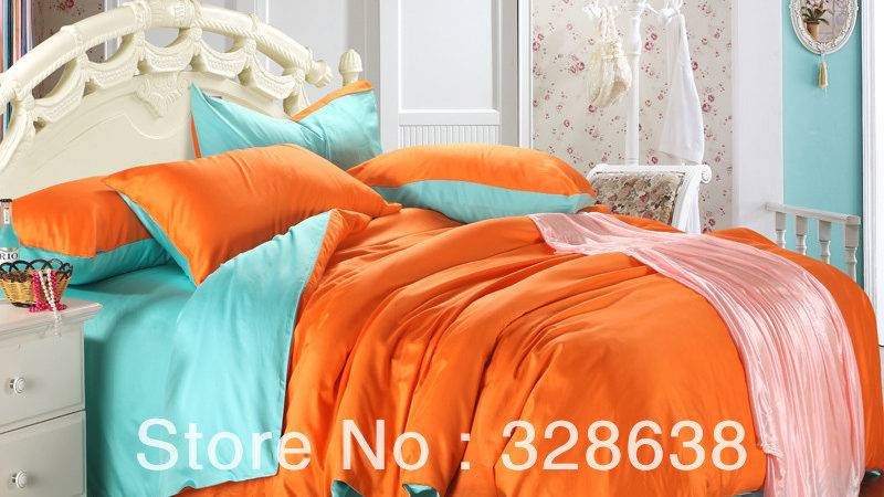 Shop Popular Turquoise Orange Bedding China Aliexpress