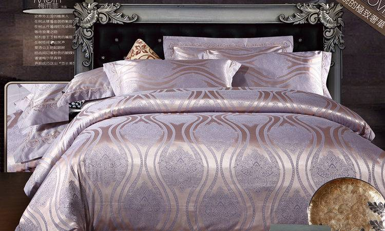 Silk Silver Wedding Bed Set Embroidery Satin Comforter