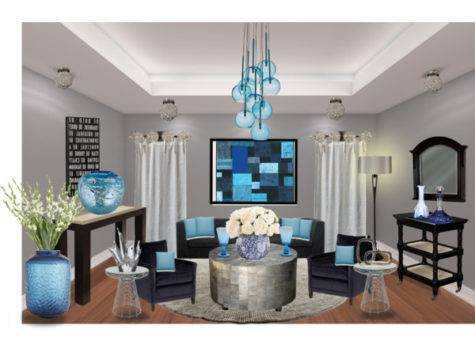 Silver Blue Living Room Polyvore