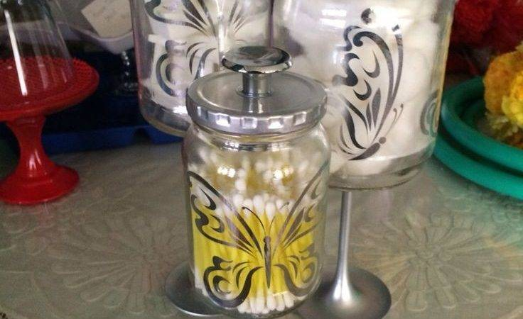 Silver Butterflies Bathroom Apothecary Jars More
