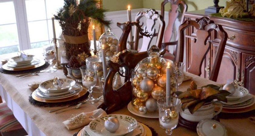 Silver Reindeer Table Decorations Photograph Rustic