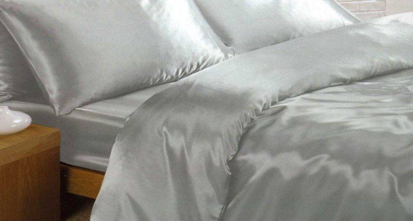 Silver Satin Super King Duvet Cover Fitted Sheet