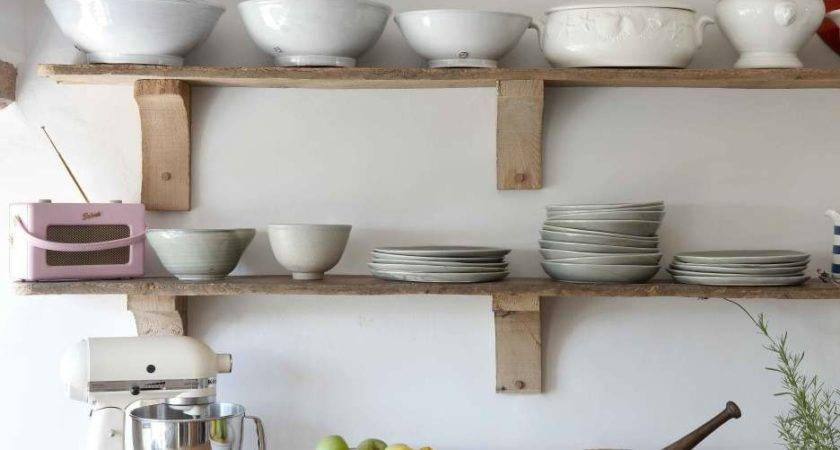 Simple Rustic Unstained Wooden Wall Shelf Design Ideas