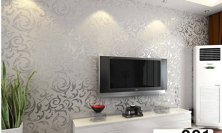 Sitting Rooms Grey Textured Wall Paper Grasscloth