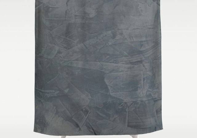 Slate Gray Stucco Shower Curtain Mediterranean
