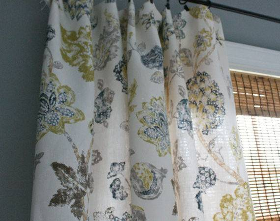 Slate Grey Gold Creme Floral Curtain Panel