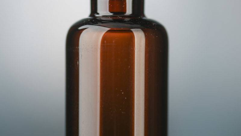 Small Amber Glass Apothecary Bottle Decorative