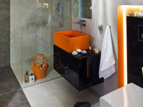 Small Bathroom Ideas Shower Gray Tiles Matt Orange Black