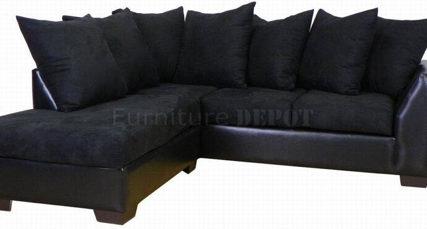 Small Black Sofa Fabric Sectional Couch