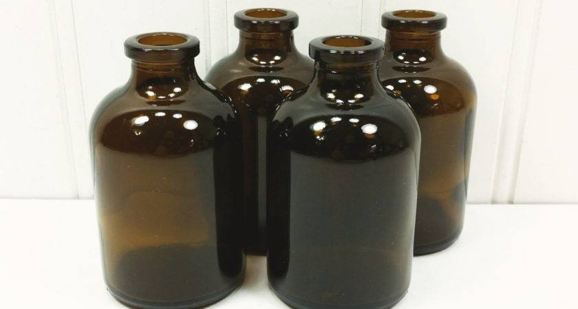 Small Brown Bottles Vintage Tiny Amber Apothecary Jar