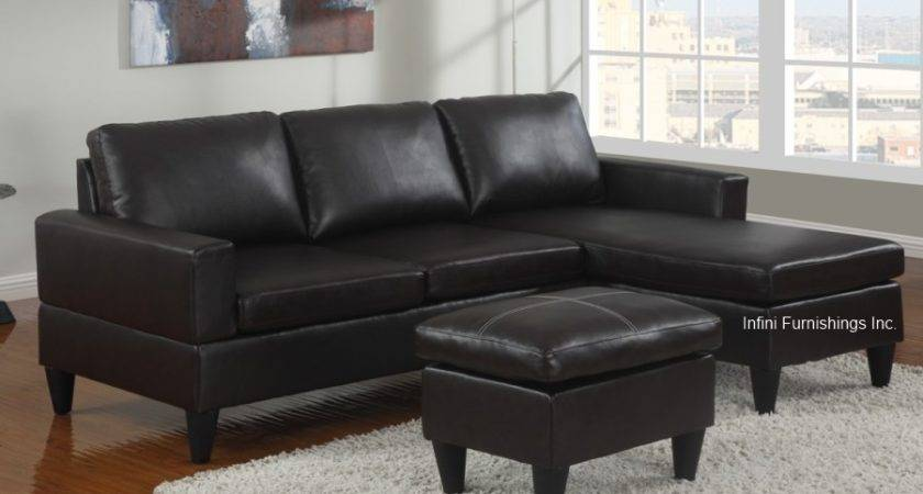 Small Faux Leather Sectional Sofa Couch Furniture Modern