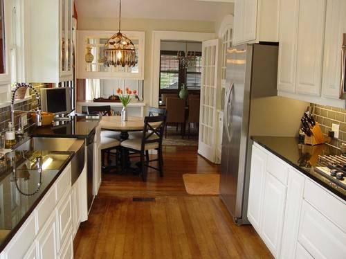 Small Galley Kitchen Separate Breakfast Nook Opened