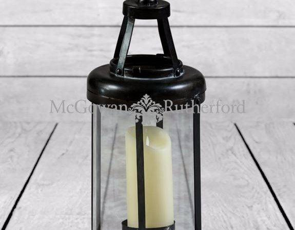 Small Industrial Antiqued Iron Candle Lantern
