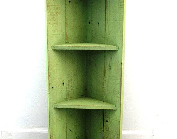 Small Lime Wood Corner Shelf Distressed Thesummeryumbrella