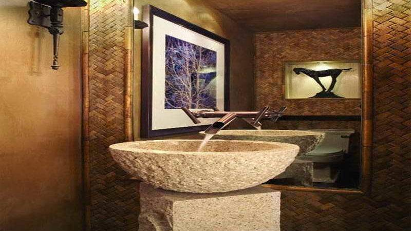 Small Powder Room Decorating Ideas Stone Material