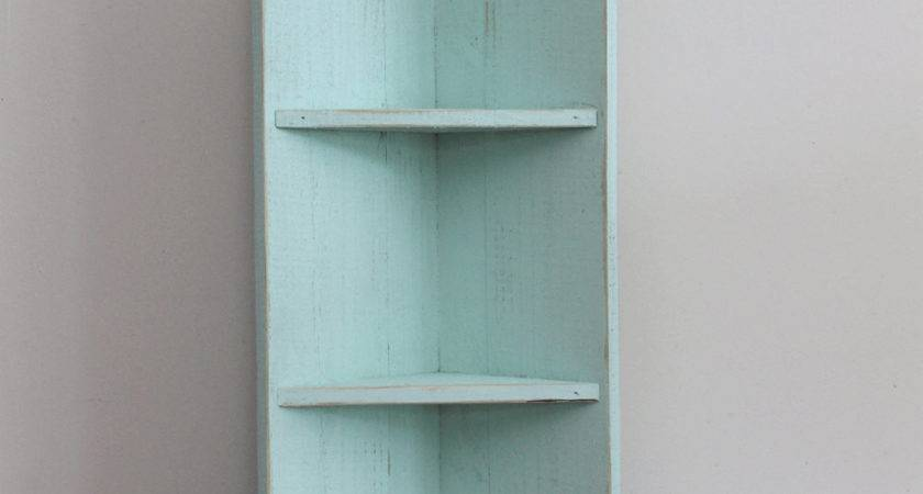Small Seafoam Wood Corner Shelf Housewarming