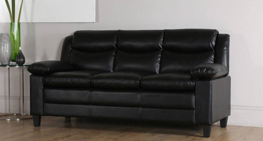 Small Seater Black Leather Sofa Centerfieldbar