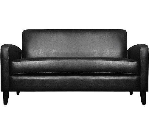 Small Spaces Track Couch Renu Leather Black Walmart