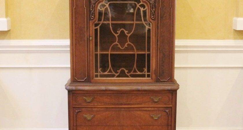 Small Vintage Walnut Lighted China Cabinet Curio American