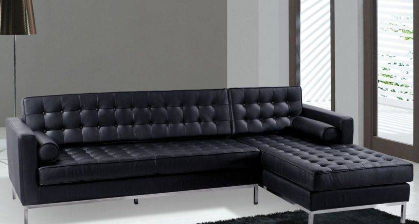 Sofas Modern Black Leather Sectional Sofa Color