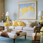 Soft Blue Yellow Living Room Wonderful