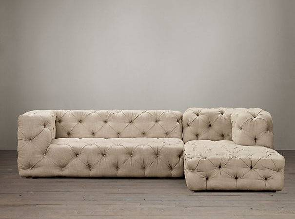 Soho Tufted Upholstered Right Arm Sofa Chaise Sectional