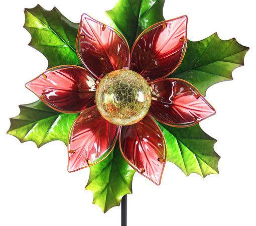 Solar Kinetic Poinsettia Stake Traditional Outdoor
