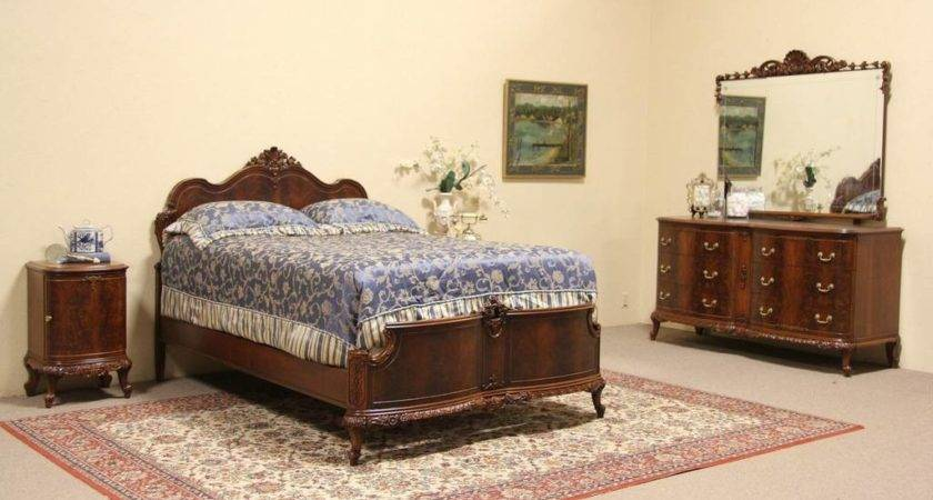 Sold Carved Piece Vintage Bedroom Set