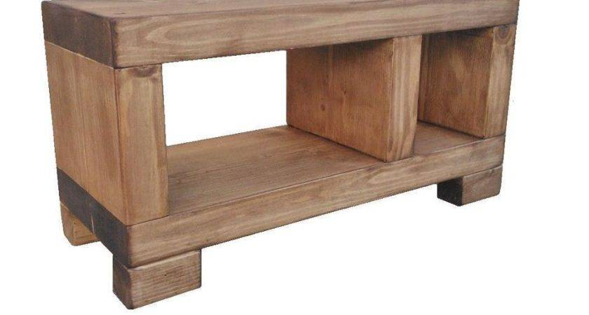 Solid Beam Lcd Unit Stand Rustic Furniture