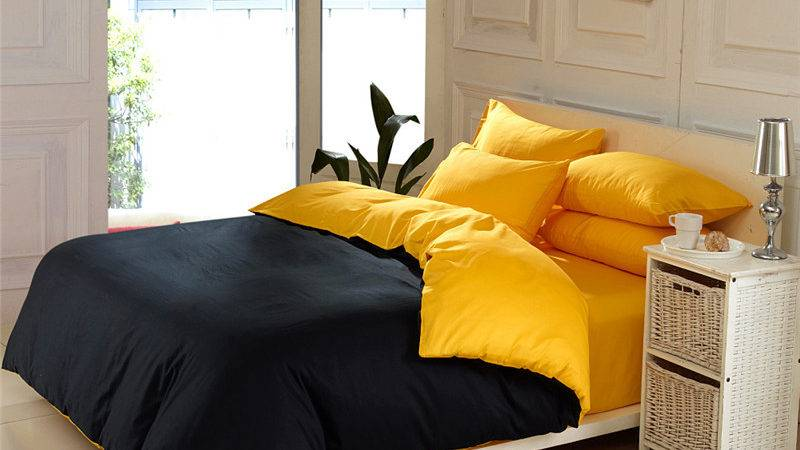 Solid Color Home Textile Black Yellow Queen King