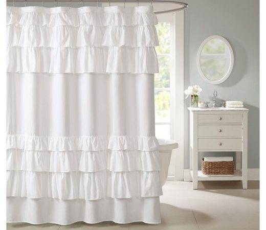 Solid Ruffle Shower Curtain White Target