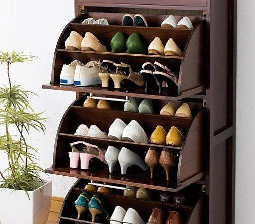 Solid Wood Rotating Shoe Rack Tipping