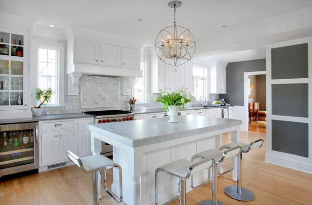 Soothing White Gray Kitchen Remodel Transitional