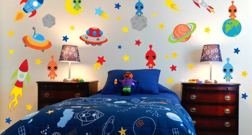 Space Theme Wall Decals Outer Room Alien