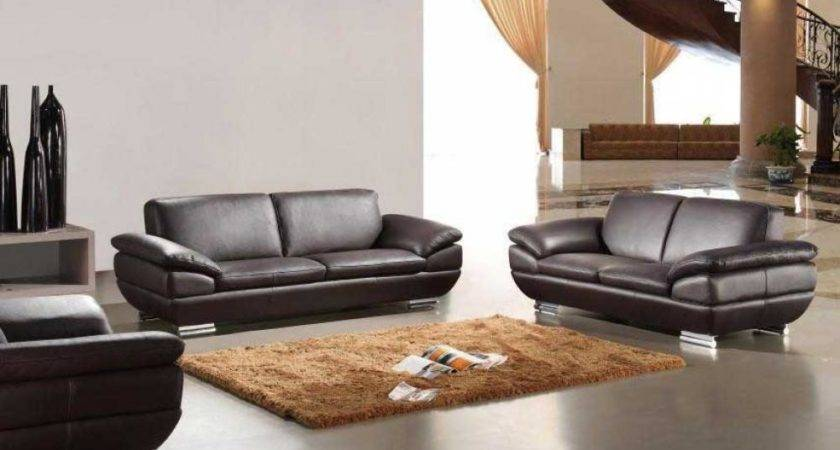 Spacious Living Room Design Brown Italian Modern Sofa