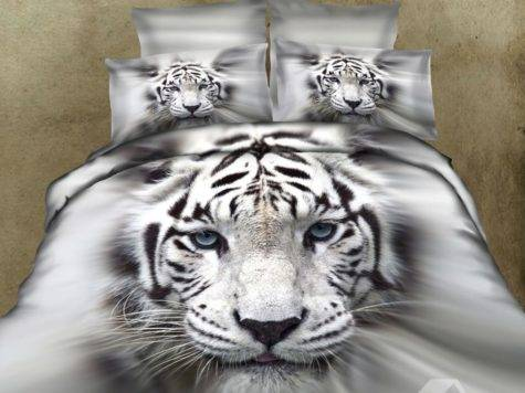 Splendid White Tiger Face Print Photographic