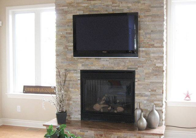 Split Stone Fireplace Modern Room