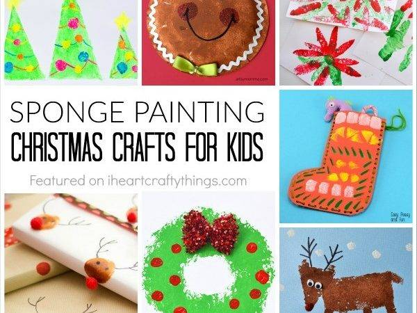 Sponge Painting Christmas Crafts Kids Heart Crafty