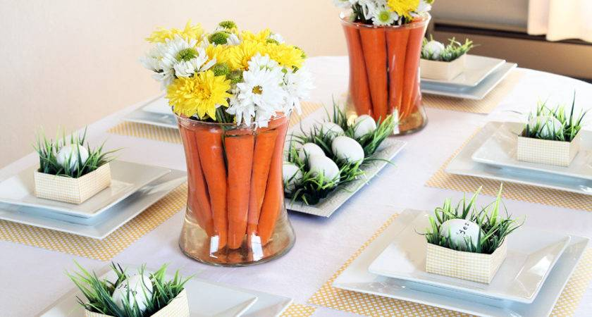 Spring Inspired Easter Tablescape Carrot Centerpiece