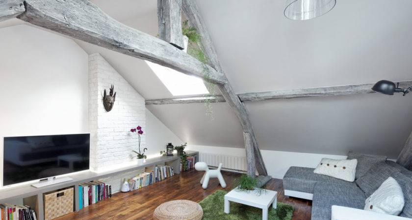 Sqm Modern Attic Apartment Design Idea White Grey