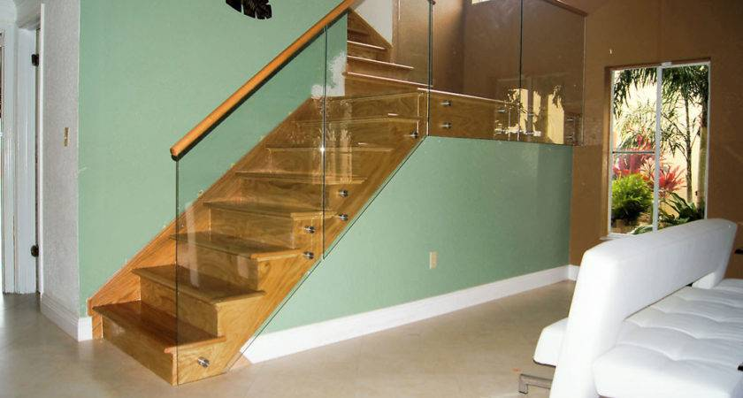 Stairs Glass Railings Stainless Wood