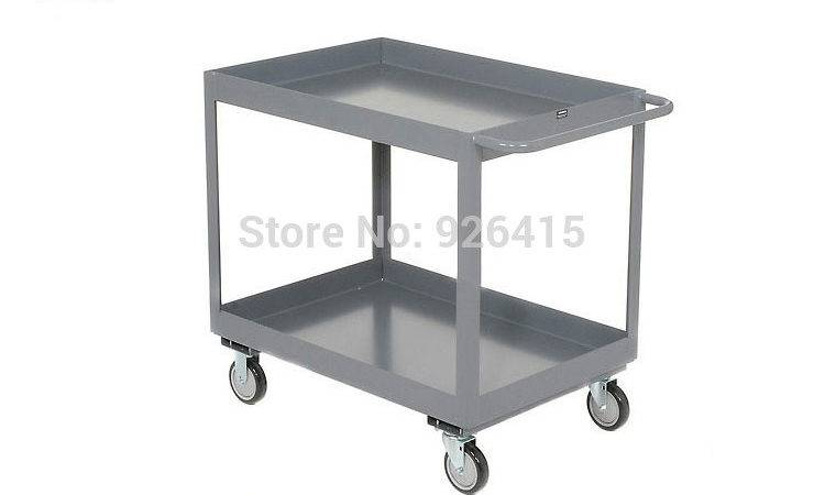 Steel Production Trolley Double Layer Warehouse Cart