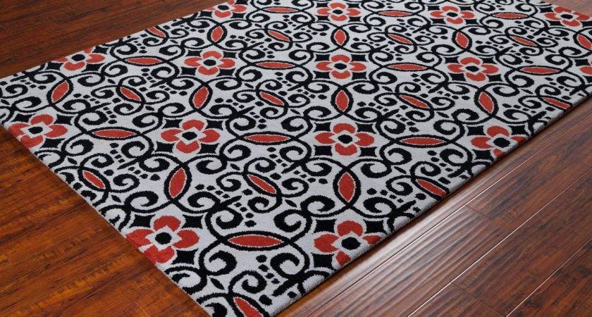 Stella Collection Hand Tufted Area Rug Grey Red