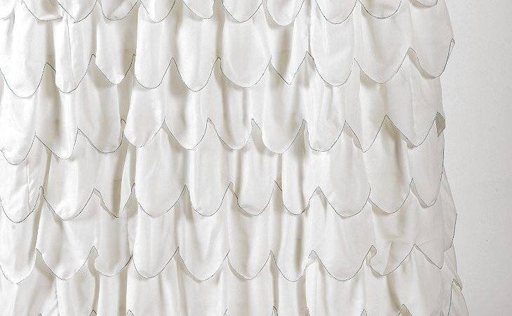 Stitched Scallop Ruffle Shower Curtain Urban Outfitters