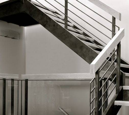 Stone Wood Steel Interior Railing Modern Staircase
