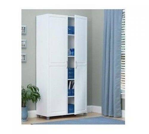 Storage Cabinet Armoire Shelves White Kitchen Pantry