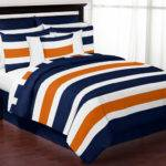 Stripe Navy Blue Orange Queen Bedding Collection