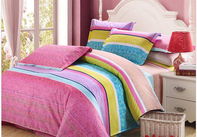 Striped Bright Turquoise Pink Purple Yellow Warm Colors