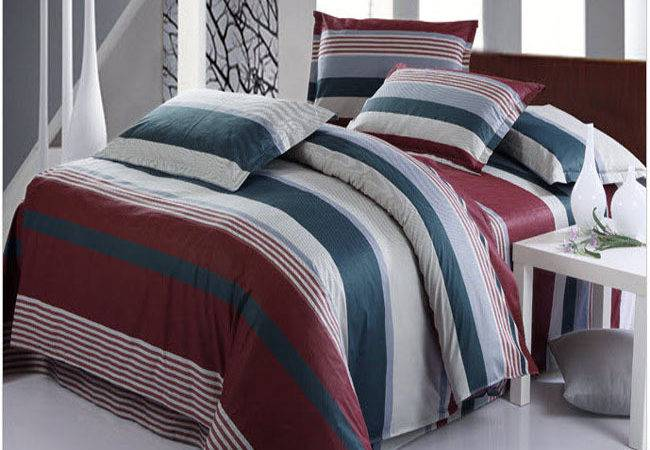 Striped Burgundy Teal Ice Blue Color Patchwork Bedding Set